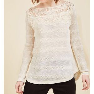 Creamy White lace top light weight sweater.